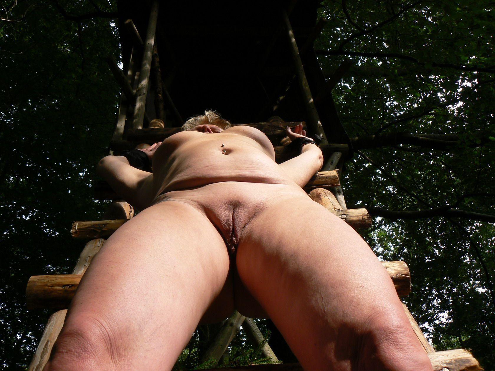 Frau Gefesselt Im Wald